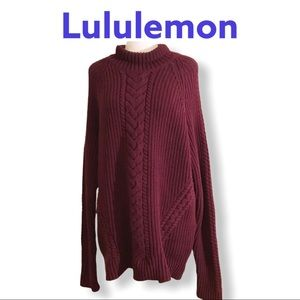 Lululemon maroon cable knit pullover sweater 12